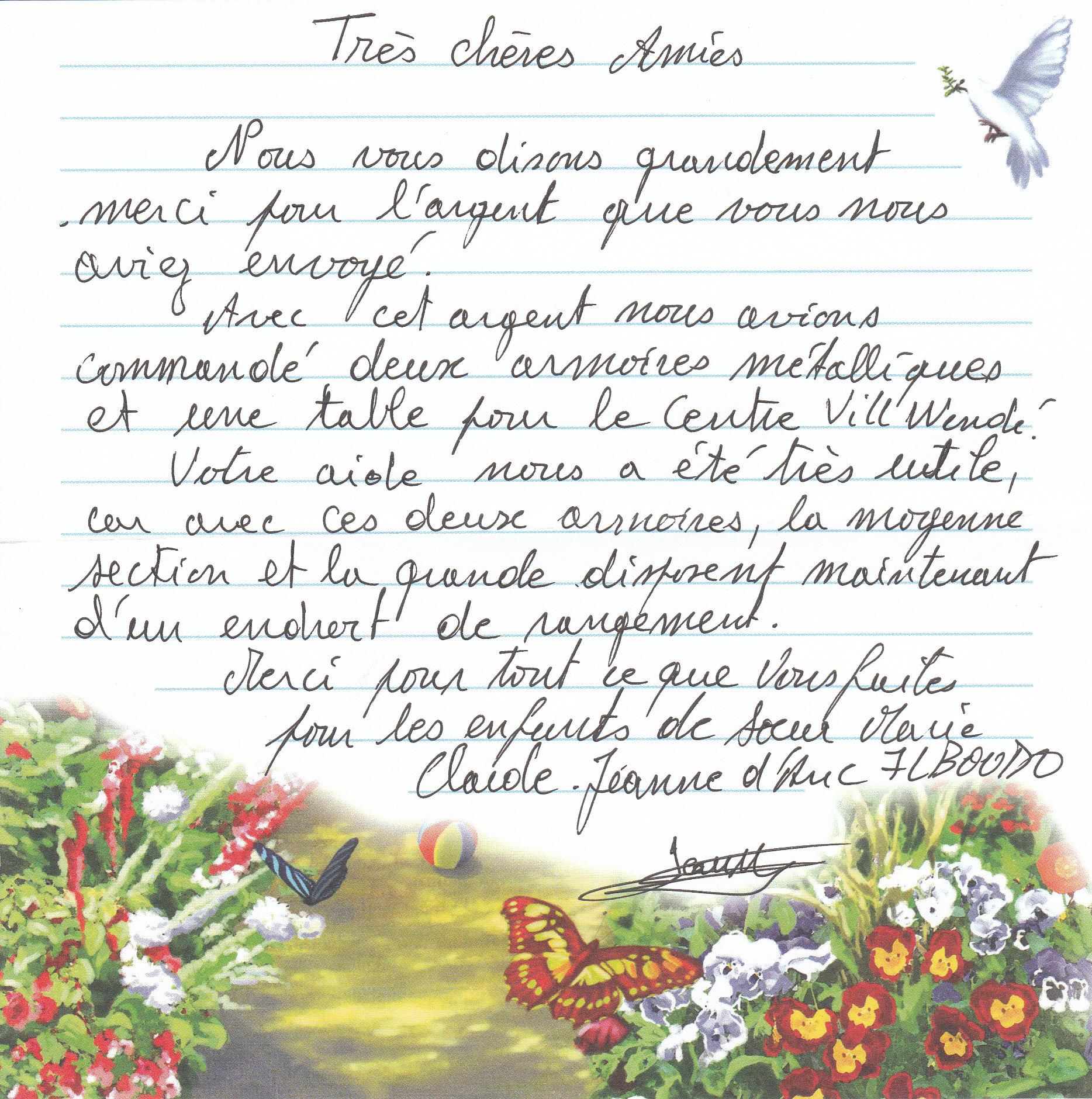 lettre de remerciement a une amie pour son soutien